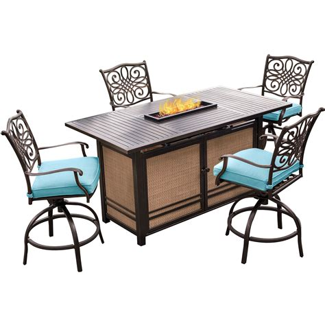 high top patio set with pit hanover traditions 5 high dining set in blue with 4