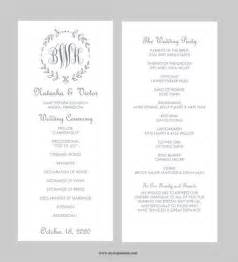 wedding program template tea length gray leaf monogram instant editable ms word