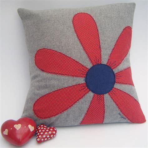 Flower Cushion appliqu 233 d flower cushion by honeypips notonthehighstreet