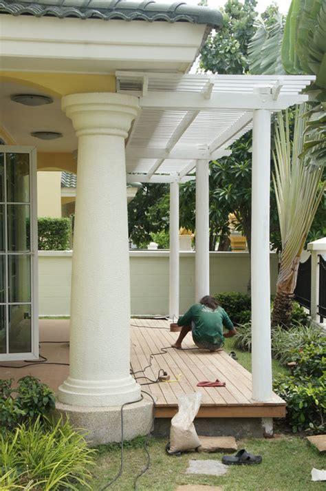 Meteran Wood 5m pergola for driveways thai garden design