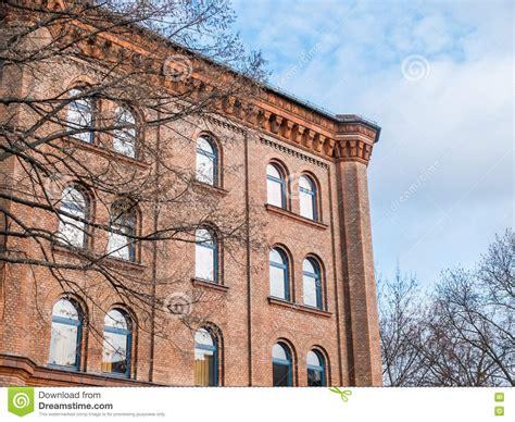 brick cornice historical building with decorative cornice stock image