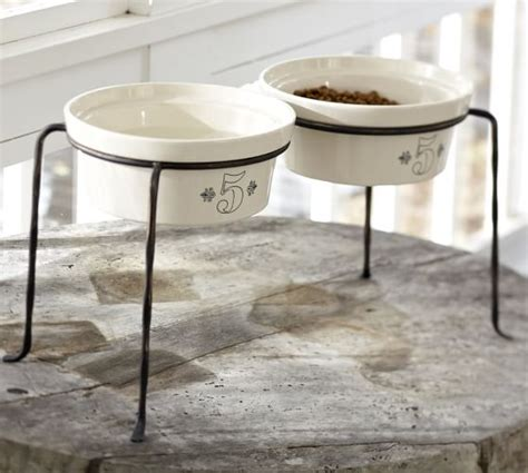 food bowl stand vintage food pet bowl stand pottery barn