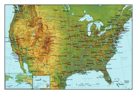map of interstates in usa topographical map of the usa with highways and major