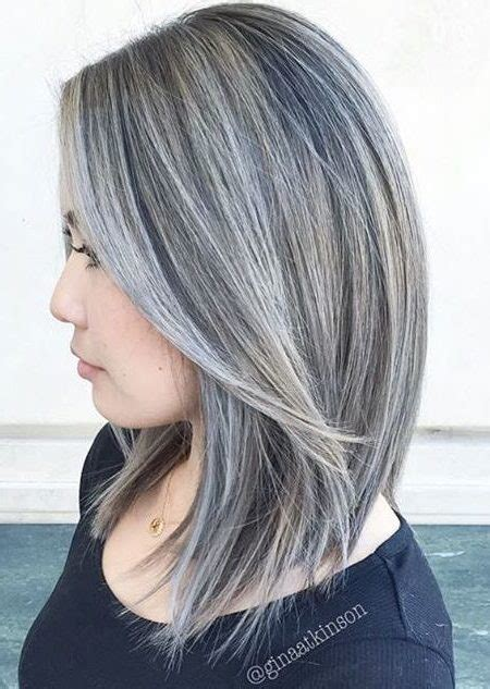 highlights to hide white hair silver and white hair highlights best hair color trends