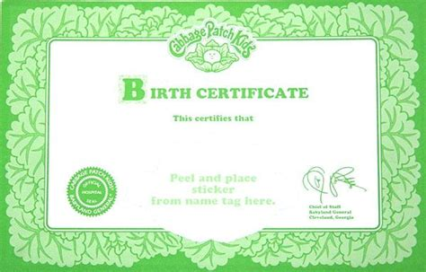printable cabbage patch birth certificate   cabbage patch