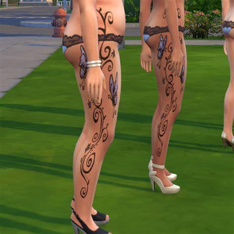 mod the sims full leg tattoo butterflies amp stars