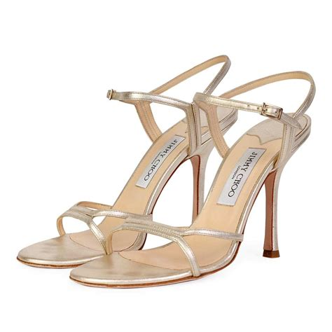 jimmy choo sandals jimmy choo gold nappa strappy sandals s 40 6 5 luxity