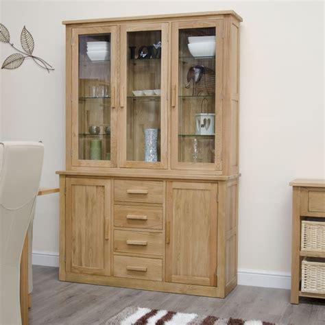 arden solid oak furniture large glazed dresser display