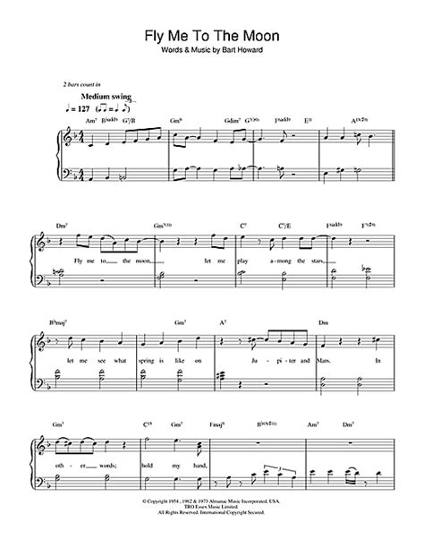 tutorial piano fly me to the moon fly me to the moon in other words sheet music by diana