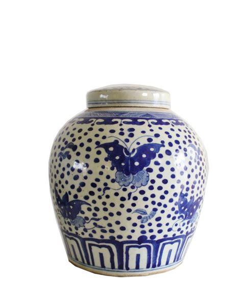 blue ginger jar ls blue white ginger jar 10 quot butterflies blue white