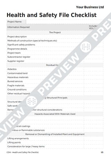 cdm health and safety file template health and safety file checklist cdm template haspod