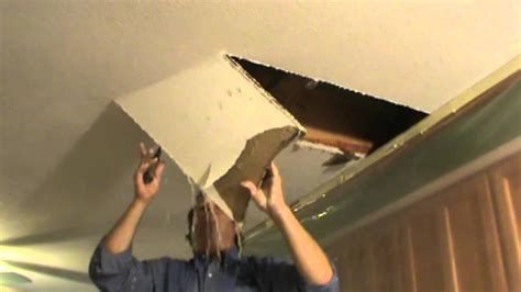 Water Damaged Drywall Repair Opening Ceiling Youtube How To Fix A In Ceiling