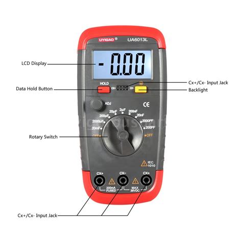 capacitor meter check uyigao ua6013l portable lcd capacitor capacitance meter tester w test clip b6y9 ebay