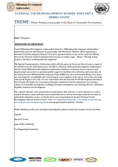 Sle Invitation Letter To Youth Conference Invitation Letters