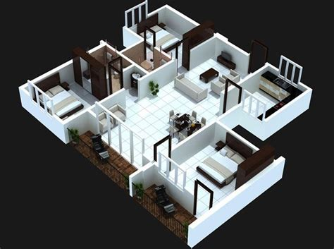 3 room 3d house plan 3 bedroom apartment house plans futura home decorating