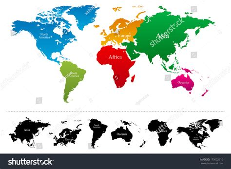 continent map vector world map colorful continents atlas vector stock vector