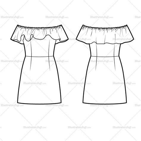 dress sketch template shoulder dress flat template illustrator stuff