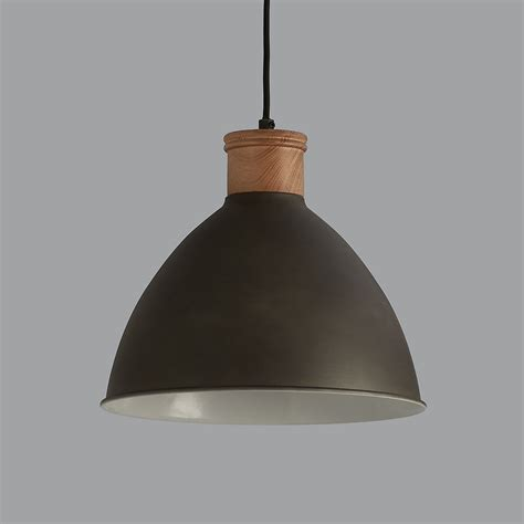 Wood Pendant Light Cement Grey And Wood Pendant Light
