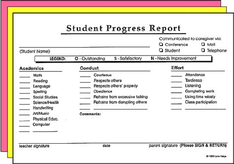 student grade report template writing students reports