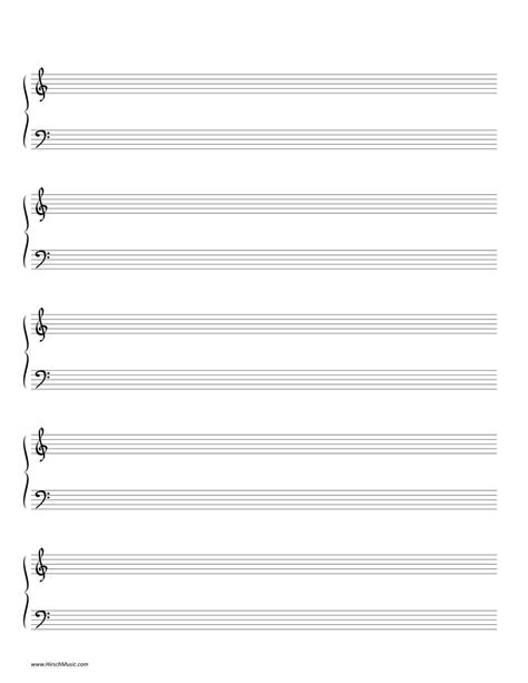 free printable staff paper with bar lines manuscript paper hirschmusic publications
