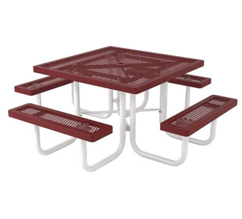 plastic coated picnic tables 46 quot square plastic coated expanded steel picnic table