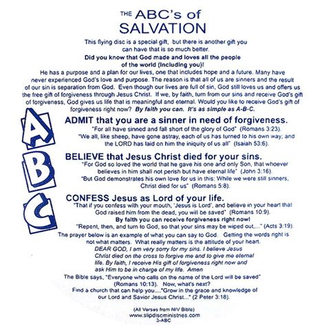 the s guide the abc s of a books abc s of salvation slip disc slip disc gospel flying tracts