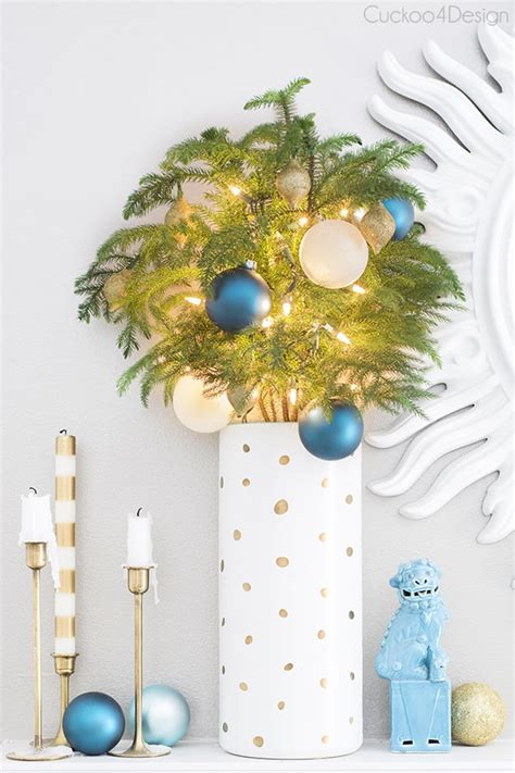 teal gold and white christmas mantel cuckoo4design