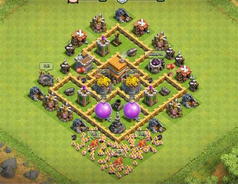 layout of coc townhall level 5 clash of clans town hall level 5 defense th 5 war base