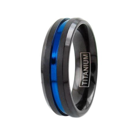 Cincin Pesta Kawin Tunangan Black Ring Titanium Wedding wedding rings 6 8mm black titanium s thin blue line brushed wedding band ring situs