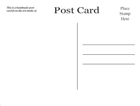 Plain Card Template by Click Here To The Pdf Of The Free Plain Postcard