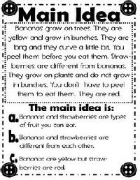 printable main idea poster main idea worksheet for second graders free graphic