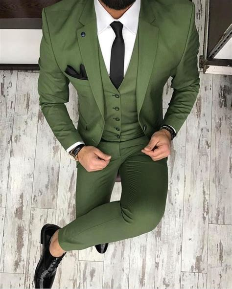 2018 Latest Coat Pant Designs Green Men Suit Business Slim