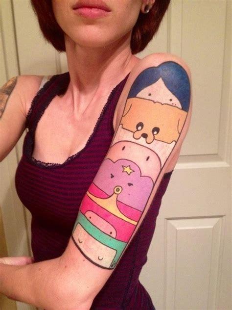cute half sleeve tattoos colored left half sleeve