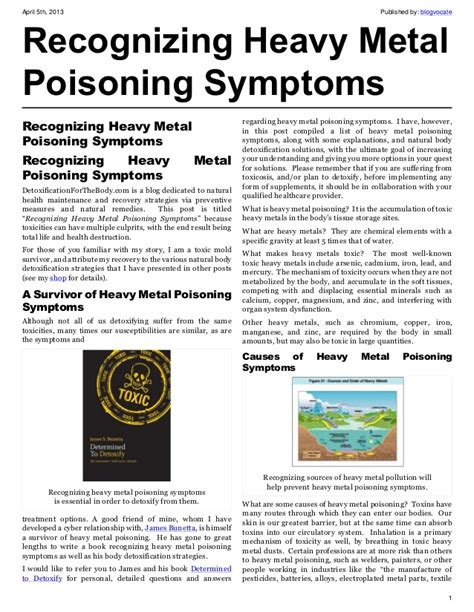 poisoning symptoms recognizing heavy metal poisoning symptoms