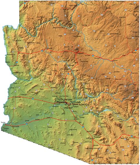 arizona map usa detailed elevation map of arizona with cities arizona