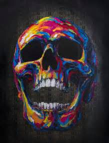 colorful skeleton colorful textured collage paintings of skulls
