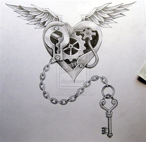steam punk heart and chain by knotty inks on deviantart