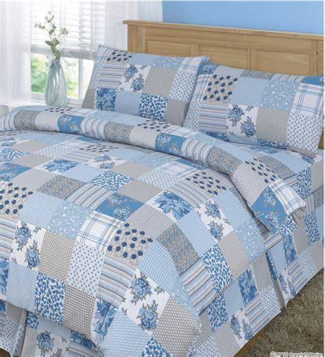 Blue Patchwork Duvet Cover - buy patchwork duvet set at www shawsdirect
