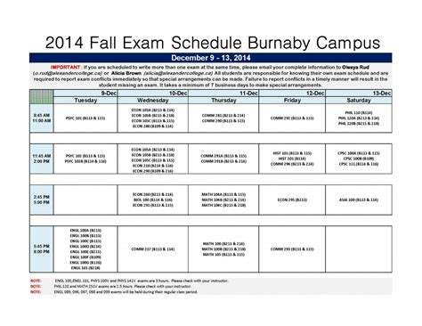 Udc Mba Schedule For Fall by 2014 Fall Schedule Burnaby Cus