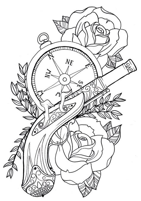 tattoo flash coloring pages by rickey tattoo flash pinterest pistols pistol