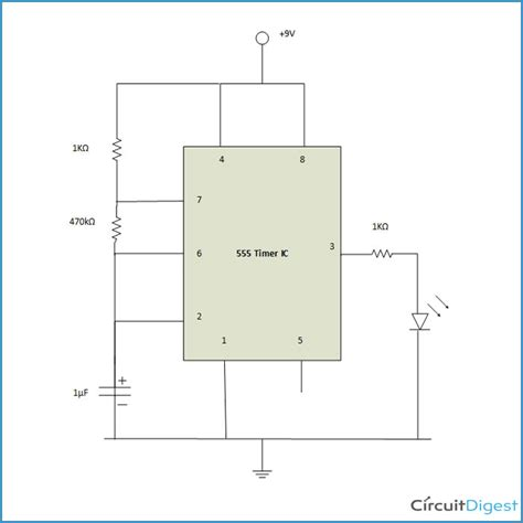 circuit diagram for blinking led circuit and schematics
