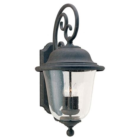 Seagull Outdoor Lighting Sea Gull Lighting Trafalgar 3 Light Oxidized Bronze Outdoor Wall Fixture 8461 46 The Home Depot