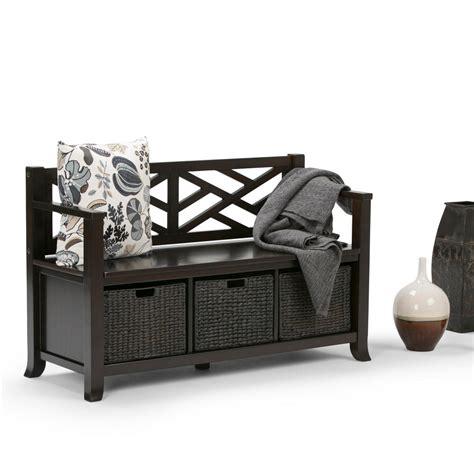 simpli home adrien entryway bench simpli home adrien espresso brown storage bench int axcadr
