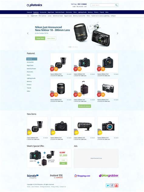 e commerce camera store website template psd