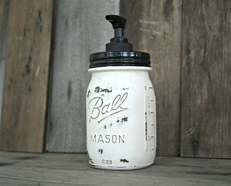 shabby chic soap dispenser jar soap dispenser distressed shabby chic country cottage home decor on etsy 15 00