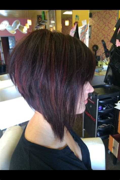 stacked bob haircuts dyed red graduated bob with red violet highlights hair and