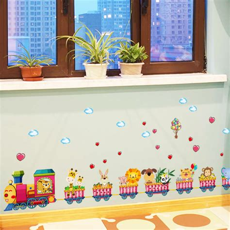 safari animals wall stickers nursery decor baby mural removable room wall