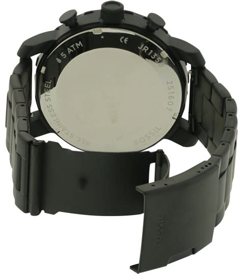 Fossil Jr1356 Blk Steel Black fossil chronograph nate black ion mens jr1356 ebay