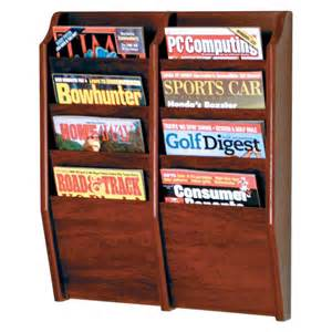 wall mounted magazine rack shelf organizer wood display