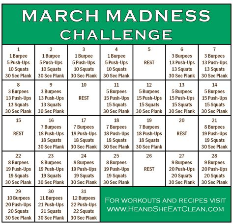 exercises challenges workout march madness fitness challenge he